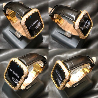 即納★アップルウォッチ用カスタムセット★シャンパン×本革クロコダイルレザー★(腕時計(デジタル))