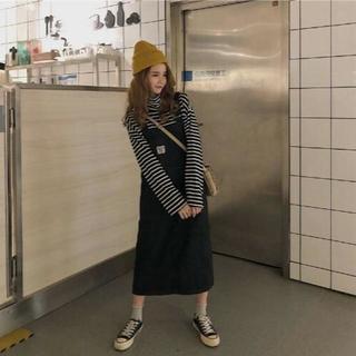 【ブラック】ジャンパースカート  人気商品です(ロングスカート)