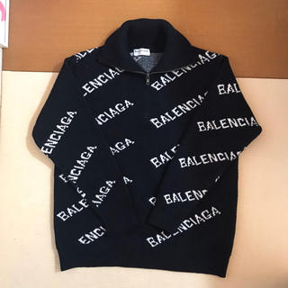 Balenciaga - バレンシアガ ハーフジップアップ 斜め 総柄 ロゴ ニット