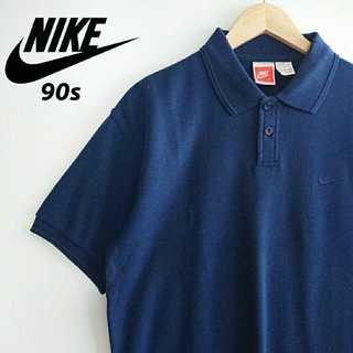 ナイキ(NIKE)の696 90s NIKE 胸ロゴ刺繍 単色 ポロシャツ 海外企画 ネイビー(ポロシャツ)
