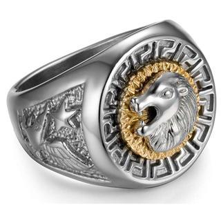 18K メンズ指輪 ライオン獅子ロゴ  ホワイトゴールドめっき シルバー 21号(リング(指輪))