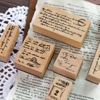 英文wood stamp ✼11ピースセット
