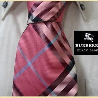 BURBERRY BLACK LABEL - 極美品★バーバリーブラックレーベル【ピンクバーバリーチェック柄】ネクタイ