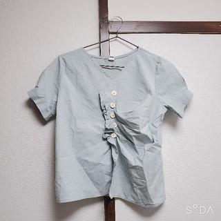 ゴゴシング(GOGOSING)の新品 ゴゴシング ギャザーシャツ 水色 トレンド 春物 再値下げ(シャツ/ブラウス(長袖/七分))
