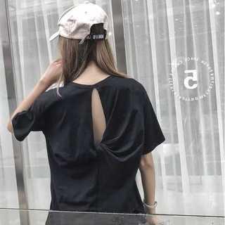 バックリボン オーバーサイズ Tシャツ ブラック *TBU006-BKFR(Tシャツ(半袖/袖なし))