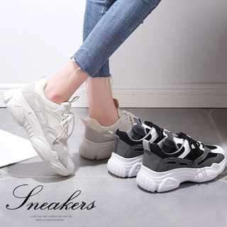 厚底 スニーカー レースアップ 運動靴 ランニングシューズ 歩きやすい ブラック