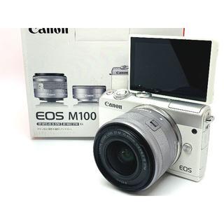 キヤノン(Canon)の★カメラ女子に大人気のホワイトカラー★Canon EOS M100 レンズセット(ミラーレス一眼)