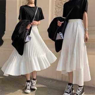 ♡新品♡アシンメトリー 細プリーツ スカート ホワイト フリーサイズ(ひざ丈スカート)