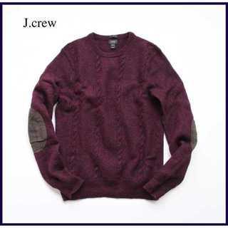 ジェイクルー(J.Crew)のジェイクルー★メリノウール素材 エルボーパッチ ケーブルニット M 紫 上質(ニット/セーター)