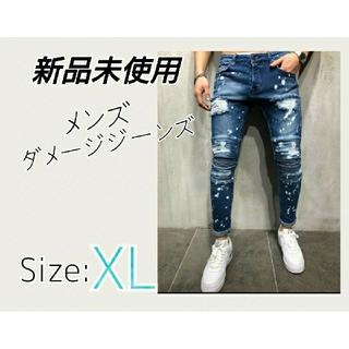 再入荷☆メンズ ダメージジーンズ XL 新品未使用 ストレッチ素材 デニム