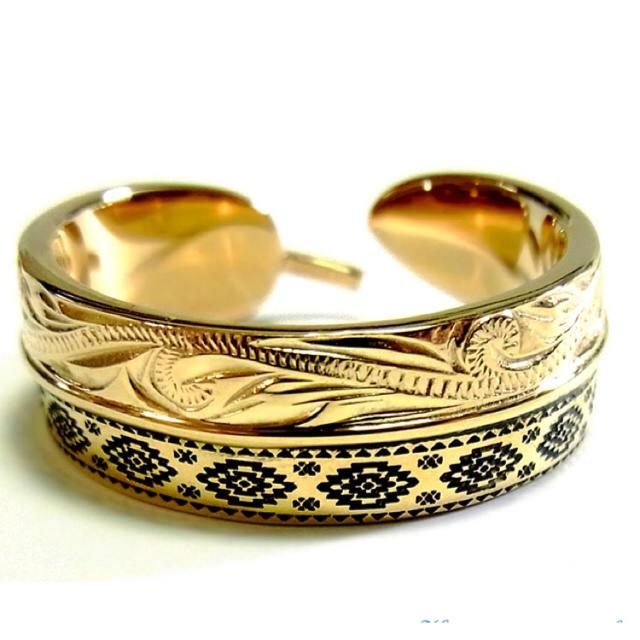 ジュエリー  ハワイアン フェザー オルテガ K14イエローゴールドコーティング メンズのアクセサリー(リング(指輪))の商品写真