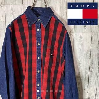 TOMMY HILFIGER - TOMMY トミーデニム チェック柄 デニムシャツ
