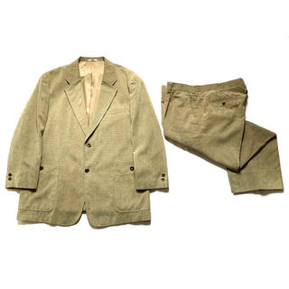 80s90sセットアップスーツ ベージュ 玉虫 茶 緑 古着ビンテージ XXXL(セットアップ)