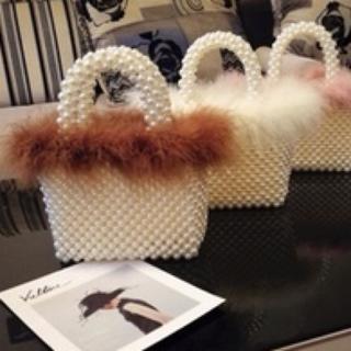 ロキエ(Lochie)のPearl handbag fake fur(coffe) フェイクファーバッグ(ハンドバッグ)