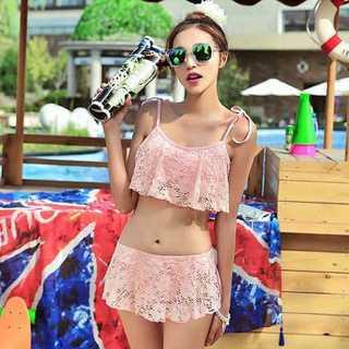 水着 ビキニ セパレート フリル レース 花柄 かわいい スカート ピンク(水着)