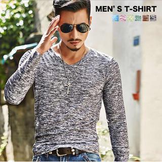 メンズ ロンT ネック ロングTシャツ 長袖 Tシャツ メンズカジュアル(Tシャツ/カットソー(七分/長袖))