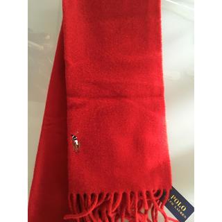 Ralph Lauren - ラルフローレン ホースマーク 赤の ウールマフラー 新品タグ付き