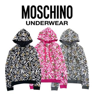 モスキーノ(MOSCHINO)の新品✨MOSCHINO アンダーベアロゴ総柄パーカー くま テディベア(パーカー)