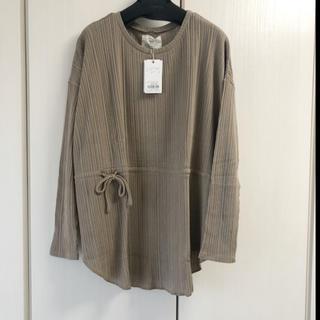 アングリッド(Ungrid)の新品 ウエストギャザーテレコデザインロングスリーブTee(Tシャツ(長袖/七分))