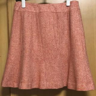 ウールツイード素材 アシメントリー 膝丈マーメードスカート オレンジW73(ひざ丈スカート)