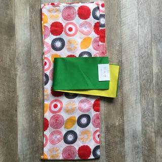 【かわいい!】大人浴衣2点セット 可愛いフルーツ柄 ビタミンレッド Y125(浴衣)