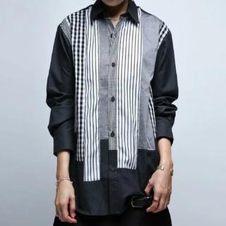 antiqua - アンティカ ストライプ柄 チェック柄切り替えドルマンビッグシャツ XL