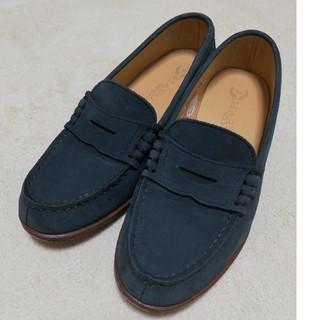 ハルタ(HARUTA)のハルタ スエードローファー 本皮 くすみブルー(ローファー/革靴)