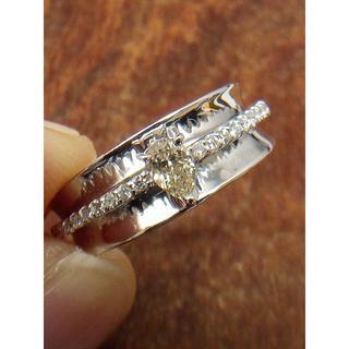 メインは可愛いペアシェープ!K18WGダイヤリング 12.5号(リング(指輪))