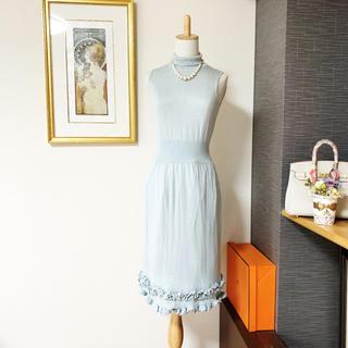 VALENTINO - 美品 ヴァレンティノ  シルク ブルー ニット ワンピース ドレス