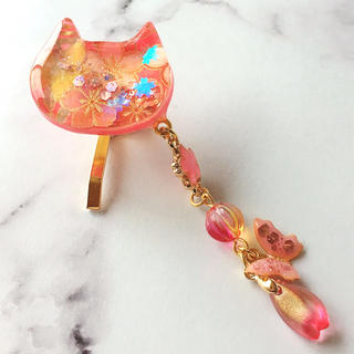 桜柄の猫のポニーフック(ヘアアクセサリー)