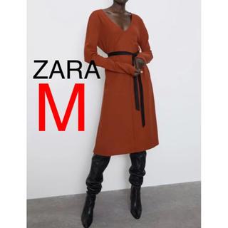 ザラ(ZARA)のZARA ザラ 新品 ベルト付き ロングワンピース M(ロングワンピース/マキシワンピース)