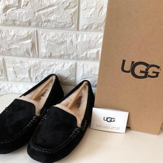 UGG - UGG アンスレー アグ ムートン モカシン ブラック US7 24センチ