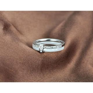 セラミックラインストーン2重リング【ホワイト&シルバー】(リング(指輪))