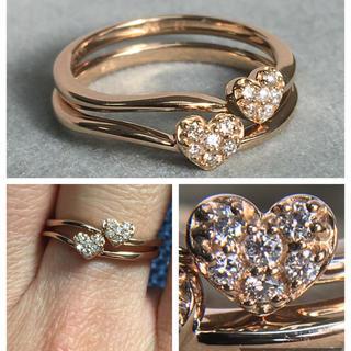 K18PG ポンテヴェキオ ハート ダイヤモンド リング 2本セット(リング(指輪))