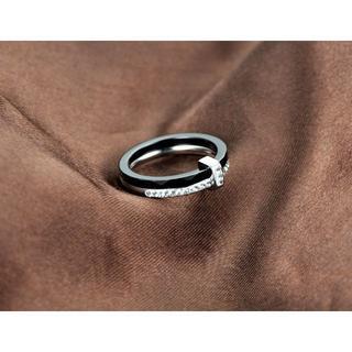 セラミックラインストーン2重リング【ブラック&シルバー】(リング(指輪))