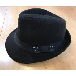 ジーユー(GU)のGIRLS ナカオレハット 黒色 子供用ハット 帽子 black hat GU(帽子)