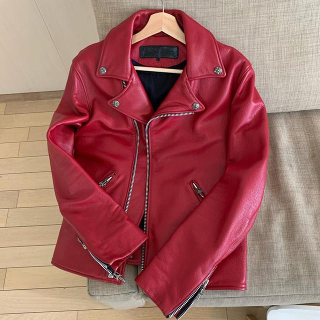 Chrome Hearts(クロムハーツ)の確認用 クロムハーツ ドーバーストリート ベーシックモト レッド S メンズのジャケット/アウター(ライダースジャケット)の商品写真
