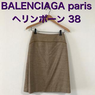 バレンシアガ(Balenciaga)のBALENCIAGA ウール ヘリンボーン 膝丈スカート 38(ひざ丈スカート)