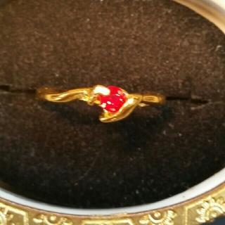 ◆25◆レッドカラー ゴールドリング(リング(指輪))