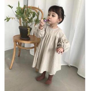 韓国子ども服 ベビー リネン ワンピース 女の子