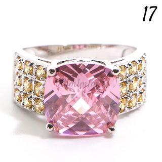 P3 リング 17号 人工石 ピンク 大粒 キュート 大ぶり(リング(指輪))