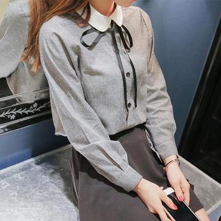 スナイデル(snidel)の丸襟タイリボンシャツ(ブラック)(シャツ/ブラウス(長袖/七分))