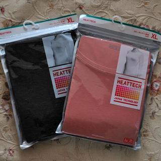 ユニクロ(UNIQLO)の【新品】ユニクロ ヒートテック XLサイズ オレンジ&ダークグレイ 2枚セット(アンダーシャツ/防寒インナー)