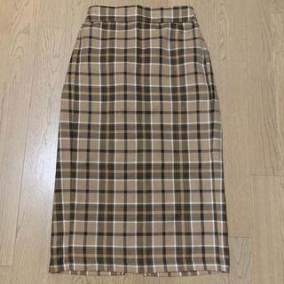 GU - 《未使用》GU タータンチェックナローミディスカート ベージュ