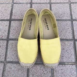 ローズバッド(ROSE BUD)のROSE BUD♡スペイン製レザーエスパドリーユ♡イエロー37♡ローズバッド♡(ローファー/革靴)