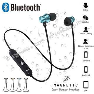 ★メタリック・ブルー マグネット付 Bluetooth ワイヤレス イヤホン