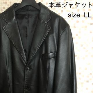 ラム革 手縫いステッチジャケット ブラック LL