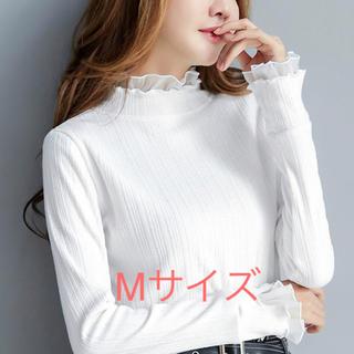 新品 ラメニット フリル リブニット 薄手 ブラウス シャツ 個性 春ニット(ニット/セーター)