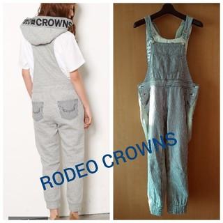 ロデオクラウンズ(RODEO CROWNS)のRODEO CROWNS★フード付きヒッコリーサロペット(サロペット/オーバーオール)