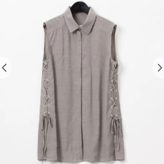 定価3万円 サイドレースアップシャツブラウス グレースコンチネンタル グレー